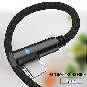 Dây sạc nhanh chữ L tích hợp đèn Led  dành cho điện thoại androi có chân sạc type C, dây được bọc dù dù chống đứt, chống rối, truyền được dữ liệu