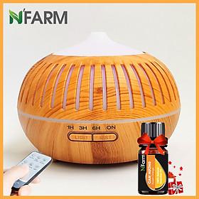Combo máy khuếch tán/ máy xông tinh dầu hình Bí Sọc N'Farm NF2068 + tinh dầu cam hương N'Farm (10ml) - Có remote.