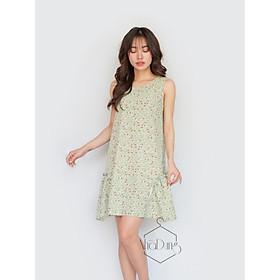 Đầm mặc nhà đầm đi chơi lụa cao cấp in họa tiết hoa nhí tà váy cách điệu dáng suôn dễ thương siêu mát dưới 70kg