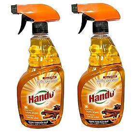 Bộ 2 chai nước lau kính siêu sạch tinh dầu quế Hando 680ml