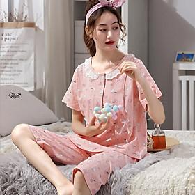 Bộ đồ bầu và sau sinh cotton ngắn tay có thiết kế cho con bú mùa hè chất mát, thấm hút mồ hôi, dễ thương AZ1404
