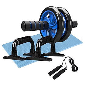 4-in-1 AB Wheel Roller Kit Abdominal Press Wheel Pro with Push-UP Bar Jump Rope and Knee Pad Portable Equipment for Home Exercise-1