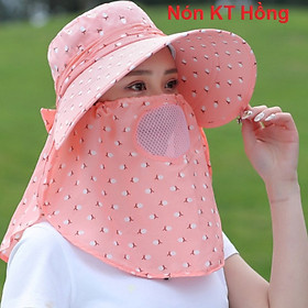 Nón chống nắng vành nón rộng mát có khẩu trang 2 lớp bảo vệ sức khỏe kèm dây thắt dễ dàng sử dụng