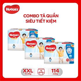 Combo 3 Gói Tã Quần Huggies Dry Gói Đại XXL38 (38 Miếng) - Bao Bì Mới
