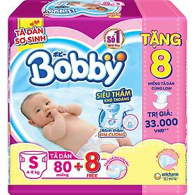 Tã Dán Bobby Sơ Sinh Siêu Thấm  S80 (80 Miếng) + 8 Miếng Tã dán cùng loại