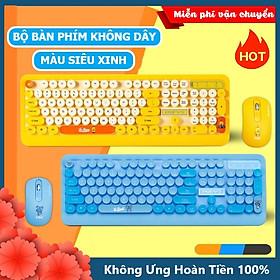 Bộ bàn phím và chuột không dây Siêu Xinh thời trang XSmart K68 màu vàng xanh sặc sỡ tương thích máy tính, laptop, pc - Hàng Chính Hãng