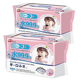 Combo 6 Khăn Ướt Nhật LEC E-166 Cho Tay & Miệng (80 Tờ x 6 Gói)