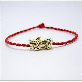 Vòng tay phong thủy mix tỳ hưu bạc 925 xi vàng CD5V - B - U vòng chỉ đỏ may mắn tỳ hưu vòng phong thủy cho nam và nữ