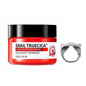 Kem Dưỡng Ẩm Phục Hồi, Cải Thiện Sẹo Lõm Chiết Xuất Ốc Sên Some By Mi Snail Truecica Miracle Repair Cream 60g + Tặng Kèm 1 Băng Đô Tai Mèo Xinh Xắn ( Màu Ngẫu Nhiên)