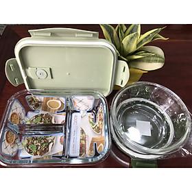 Hộp Cơm Thủy Tinh 3 Ngăn 1050 ml + Thố Canh Thủy Tinh tròn 600ml ( Giao màu ngẫu nhiên) phong cách Nhật Bản cực kì tiện lợi
