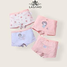 Set 4 chiếc quần chip bé gái, quần lót cho bé gái cotton cao cấp họa tiết Cô gái dễ thương hãng LASAMO mã QLB001