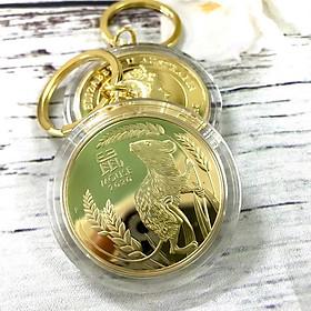 Móc khóa xu Úc con chuột mạ vàng Dùng để trang trí chìa khóa, tăng tính thẩm mỹ, mang lại may mắn, làm quà tặng dịp Lễ, Tết, kích thước 5cm, màu vàng - TMT Collection - SP000406