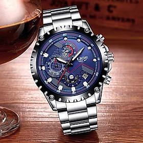 LIGE Watches Mens Full Stainless Steel Chronograph Analog Quartz Watch Gents Luxury Business Dress Wristwatch