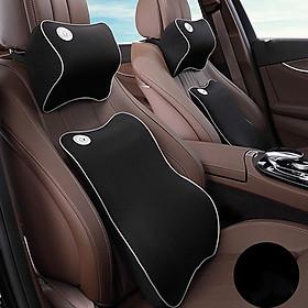 Bộ gối tựa đầu và tựa lưng xe hơi, xe ô tô V2 chất liệu cao su non cao cấp. (Tặng giá đỡ điện thoại gắn cửa gió )