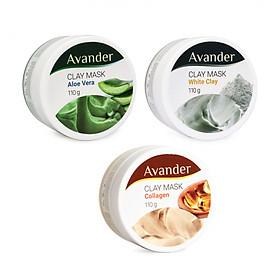 Combo 3 hũ mặt nạ đất sét Avander  (Đất sét trắng + MN đất sét collagen + MN đất sét nha đam)