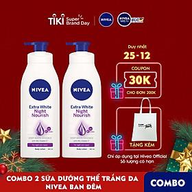 Bộ đôi Sữa Dưỡng Thể Trắng Da Nivea Ban Đêm (400mlx2) - 88126