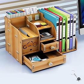 Kệ sách kệ hồ sơ kệ văn phòng kèm hộp viết đa năng bằng gỗ mẫu MỚI thời trang KS3 -Tặng móc khóa la bàn sao biển