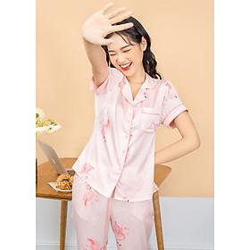 Bộ quần áo mặc nhà kiểu pijama lụa Pháp cao cấp áo tay cộc quần dài họa tiết hoa và hồng hạc H206