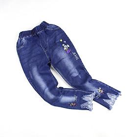 Quần jean xanh dài thêu chuột con phối ren cho bé gái 2-5 tuổi từ 14 đến 20 kg 05037