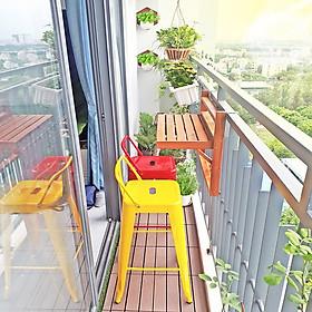 Bàn gỗ tràm treo ban công gấp gọn và tùy chỉnh theo độ cao lan can  -Bàn GỖ TRÀM treo ban công GREENHOME- Chịu nắng mưa tốt nhất