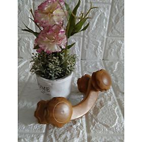 Cây lăn massage toàn thân bằng gỗ Bách Xanh quý 4 bánh lăn đôi - MX4B