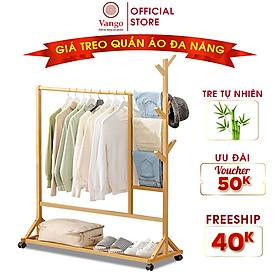 Giá kệ treo quần áo đa năng VANGO V5 bằng gỗ tre tự nhiên cao cấp, Phong cách nội thất Bắc Âu hiện đại sang trọng, sơn phủ bóng chống nước chống ẩm mốc cực tốt