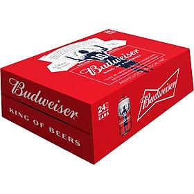 Thùng 24 lon cao bia Budweiser (330ml/lon) - Phiên bản Messi