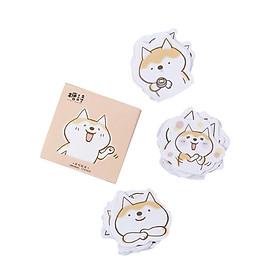 Hộp miếng dán sticker trang trí Molang- Chó Shiba Inu-Chuột Hamster