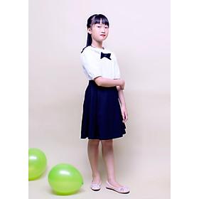 Đầm học sinh nữ cổ sen đính nơ ngực GDP003