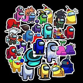 Sticker Among Us set 60 ảnh decal hình dán ép lụa