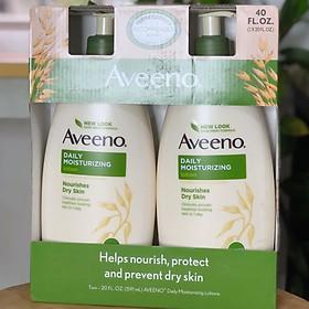 Set 2 Chai Sữa dưỡng thể Aveeno Daily Moisturizing Lotion Nourishes Dry Skin Fragrance Free 591ml x2