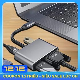 Cáp chuyển USB Type-c ra 4 cổng HDMI/ VGA/ USB và cổng sạc hỗ trợ chế độ Dex - UHV41160