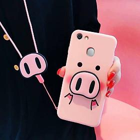 Ốp lưng dẻo hình mũi heo tặng kèm giá đỡ và dây đeo dành cho Oppo F9,F7,F5,A3s,A83,F1s,A71