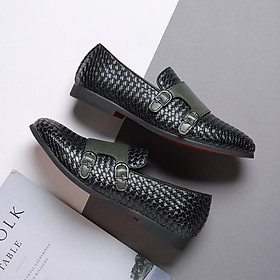 Men's loafer shoes fashion woven leather shoes casual one-step breathable wear-resistant men's shoes