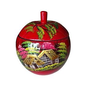Hủ táo sơn mài - Hoa đào đỏ