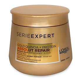 Hấp dầu nhũ vàng phục hồi tóc hư tổn nặng L'ORÉAL Serie Expert Gold Quinoa + Protein Absolut Repair Golden Masque Lightweight Touch 250ml-1