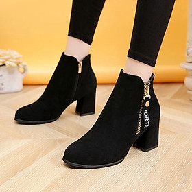 IELGY [Size34-43] Thick bottom women's shoes tide comfortable mid-heel 7cm fashion short boots shoes