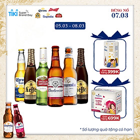 Lốc 6 chai bia Beers of the world (Leffe, Hoegaarden, Corona, Budweiser, Stella Artois)