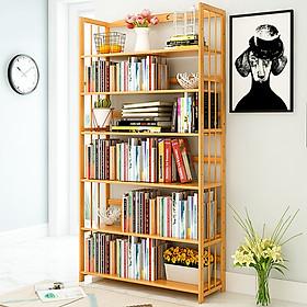 Tủ Kệ Sách Gỗ Tre 6 Tầng Trang Trí Phòng Khách Đẹp - Giá Để Sách Đứng Đa Tầng Decor Phòng Làm Việc, Góc Học Tập