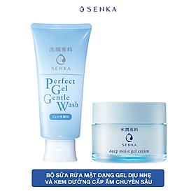 Bộ sữa rửa mặt dạng gel dịu nhẹ và Kem Dưỡng Cấp Ẩm Chuyên Sâu Senka (Senka Perfect Gel Gentle Wash và Senka Deep Moist Gel Cream 50G)