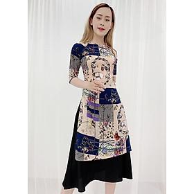 Áo Dài Cách Tân Size Lớn In 3D Họa Tiết Hoa Tím ROMI 3156 ( Không Kèm Váy)
