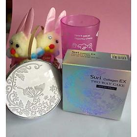 Phấn trang điểm siêu mịn Suri Collagen Two Way Cake Hàn Quốc 100g No.12 Da Sáng tăng kèm móc khoá-5