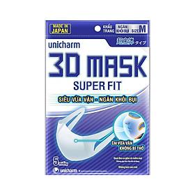Khẩu trang ngăn khói bụi Unicharm 3D Mask Super Fit (Ngăn được bụi mịn PM10) gói 5 miếng