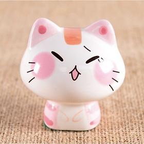 Tượng trang trí gốm sứ mèo mặt ngại ngùng