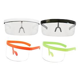 4 Pcs Unisex Shield Sunglasses Goggles Sport HD Lens Large Frame Glasses