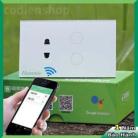 Công tắc cảm ứng [ĐIỀU KHIỂN TỪ XA] bằng điện thoại HUNONIC 2 nút kèm 1 ổ cắm điện màu trắng + HẸN GIỜ THÔNG MINH | Công nghệ 4.0