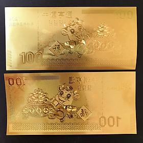 Tờ lưu niệm 100 hình con Trâu, chất liệu nhựa plastic mạ một lớp màu vàng, dùng để trang trí trong nhà, làm tiền lì xì dịp Tết Tân Sửu 2021, treo trên cây mai, bỏ vào túi xách - SP005036