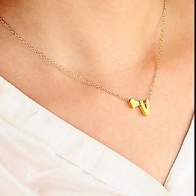 Necklace Gold V Pendant Heart Shaped 26 Letter