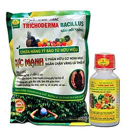 COMBO Phân bón lá sinh học VƯỜN SINH THÁI và Chế phẩm vi sinh trichoderma TRIBAC nấm đối kháng cực mạnh. Giúp cây bung đọt mạnh, rễ khỏe, cành chắc, ra hoa đậu quả nhiều. Khỏi lo tuyến trùng, nấm bệnh gây vàng lá thối rễ