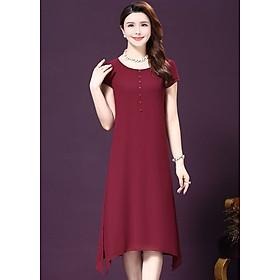 Đầm Suông Nữ Trung Niên Tay Ngắn Phối Nút LB-19